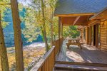 Main Level Covered Deck Over Looks The Toccoa River