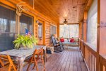 Screened In Deck Features Table, Rocker and Large Porch Swing