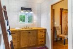 Master Bathroom Features Stand Up Shower with Cedar Floors, and Jetted Tub