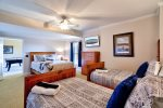 Basement Bedroom 3 Features a Queen Size Bed, 2 Twin Beds, 40 4K Smart TV, and Stunning Mountain Views