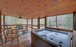 Hot Tub Located on Screened In Deck