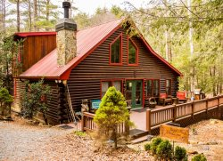 REEL MEDICINE -- Waterfront cabin rental on the banks of Big Creek in the Aska Adventure Area of Blue Ridge, GA