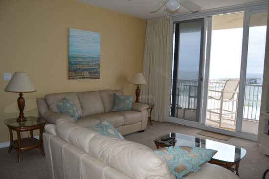 Living room facing gulf and balcony