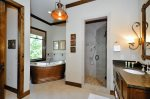 Hammered Copper Tub in Master Bath