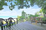 Deck overlooking Lake Michigan at the beach access point just across the street