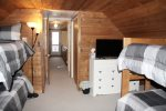 Upper level bunk room with flat screen Smart TV