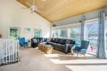 Open living room with soaring ceilings