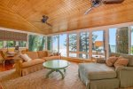 Spacious family room with full views of Lake Michigan