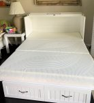 Memory foam mattress on fold-out bed