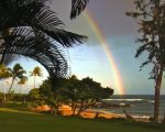 Rainbow over the beach at Lae nani By G. Gudger