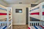 Double bunk room with twin over twin bunks and its own private bathroom