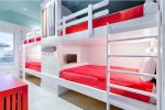 Third Floor Bunk Room with 4 Queen Beds and 2 Twin Beds with Private Bath