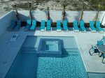 Aerial View of Pool Deck and Hot Tub, Maximum Privacy with Fence Surrounding the Yard