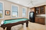 3rd Floor Game Room with Full Bath Featuring a Pool Table and Kitchenette