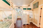 Second Floor Bunk Room with 3 Custom Built Bunks, Sleeps 6