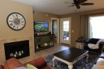 Wall mounted flat screen HDTV and decorative fireplace