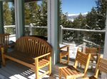 The private back deck offers spectacular views of the Rocky Mountains