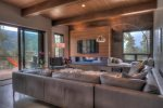 The floor to ceiling windows offer views of the slopes at Keystone Resort