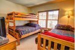The upstairs bunk room is perfect for the kiddos.