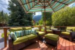 Beautifully furnished front deck with gorgeous views of the Tenmile Range