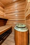 Dry sauna located on the lower level of the home