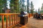 Deck located off the kitchen with propane grill