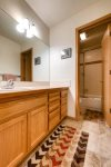 Guest bath on lower level shared by the guest rooms
