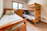 Third Bedroom with Twin Bunk Bed and Double Bed. Great for the kids. On lower level.