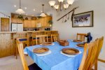 Dining table for 6 and breakfast bar for 4