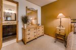 The master bedroom has plenty of room in the dresser for your clothes and comes equipped with an ensuite bathroom