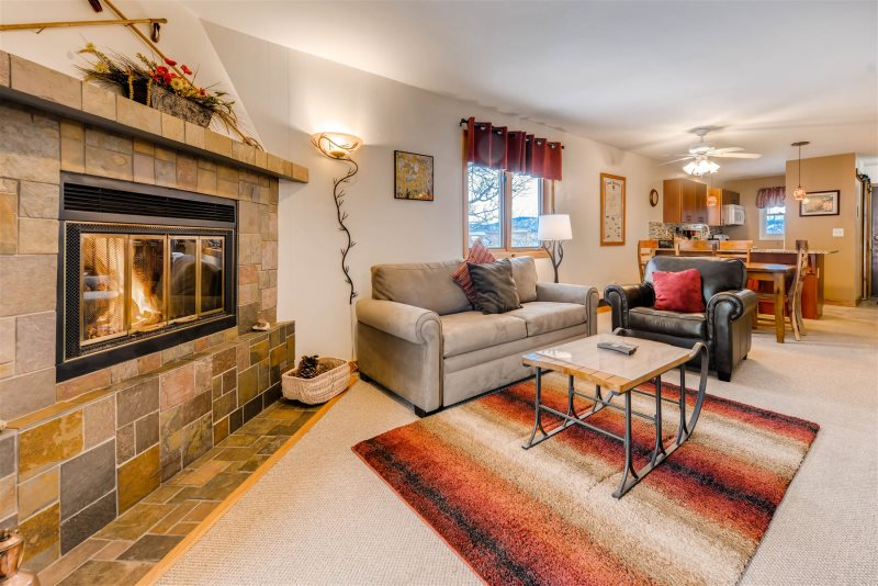 The Living Room Is Equipped With A Gas Fireplace To Stay Warm Next On Those Cold Winter Days