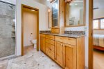 This beautiful master ensuite with heated floors and large closet