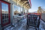 Step out onto the patio that has expansive views of the Tenmile Range, Buffalo and Red Mountains