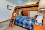 The second bedroom features a captain bunk bed to sleep 3. Great for kids