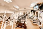 Common area gym - weights, treadmill, stationary bike, sauna, bathroom with shower
