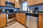 The condo has a fully equipped kitchen that includes a coffee maker, crock pot, microwave, toaster, blender and hand mixer.