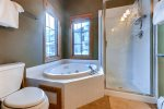Master bath with a jetted tub.