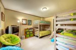 Great bunk room that`s perfect for kids with toys included.