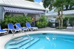Our shared heated Family pool with plenty of sunning loungers and orchids