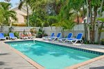 Adult`s Only heated pool has plenty of loungers, too