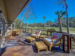 Spacious deck overlooking the golf course at 17 South Live Oak on Hilton Head Island
