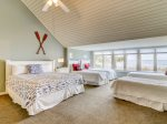 Upstairs Bedroom Perfect for Kids Offers One King Bed and Four Twin Beds with One Private Bath and Access to a Hall Bath at 8 Ketch