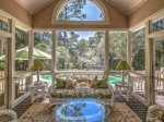 Screened Porch off Living Room with Pool and Lagoon Views at 4 Strath