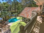 Private Balcony off Master Bedroom Overlooks Pool and Lagoon at 4 Strath