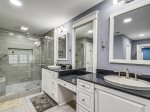 Master Bathroom Shower with Bench Seating at 14 South Beach Lane