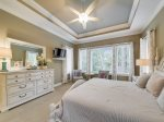 Master Bedroom with Flat Screen TV and Extra Sitting Area at 159 Mooring Buoy