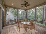 Lovely Screened Porch Overlooking Lagoon at 22 Shell Ring
