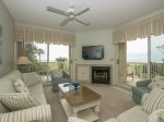 Spacious Living/Dining Area with Direct Ocean Front Views at 113 Barrington Court in Palmetto Dunes