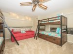 Guest Bedroom with Two Sets of Bunk Beds and Sleeper Sofa at 2 Gadwall