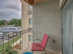3rd Floor Balcony off Living Room Overlooks Harbor Town and Lighthouse at 856 Ketch Court